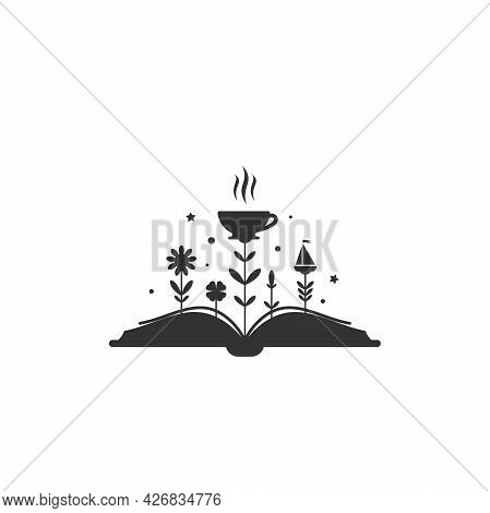 Open Book With Grass And Coffee Cup. Isolated On White Background. Bibliophile Flat Icon. Vector Ill