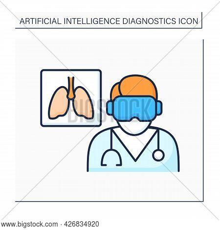 Ai In Medicine Color Icon. Examine Lungs. Pneumonia Diagnosis. Digital Technologies. Ai Diagnostic C