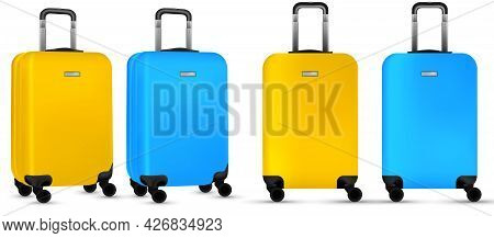 Suitcase White Background. Colorful Plastic Luggage Or Vacation Baggage Bag Collection Isolated. Cop