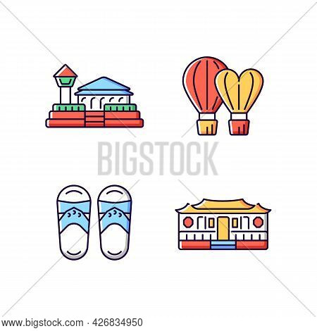 National Taiwanese Rgb Color Icons Set. Isolated Vector Illustrations. Longshan Temple. Taiwanese Sl