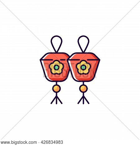 Mini Sky Lanterns Rgb Color Icon. Isolated Vector Illustration. Taiwanese Floating Paper Lanterns. A