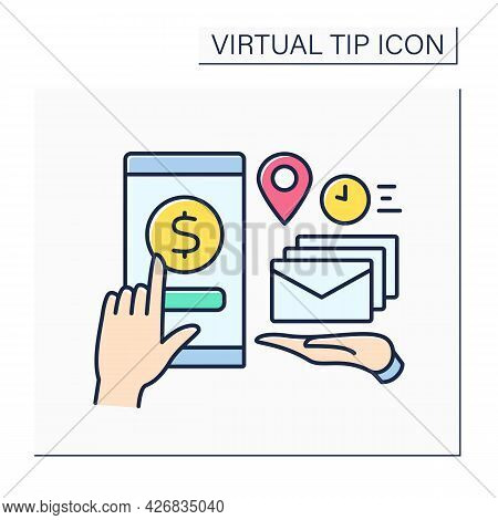 Donations Color Icon. Online Contributions For Fast Mail And Documentation Delivery.post Office Serv