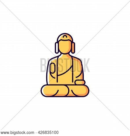 Shan Buddha Museum Yellow Rgb Color Icon. Isolated Vector Illustration. Buddhist Faith Architecture.