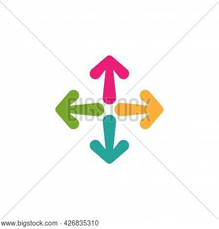 Four Colorful Cartoon Arrows Point Out From The Center. Expand Arrows Icon. Outward Directions Icon.