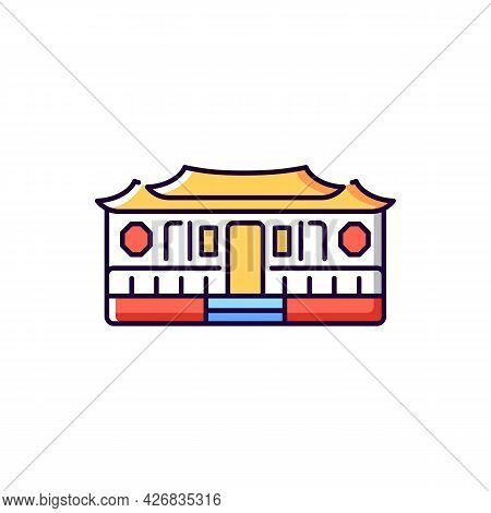 Longshan Temple Rgb Color Icon. Isolated Vector Illustration. Oriental Cult Ancient Building. Taiwan