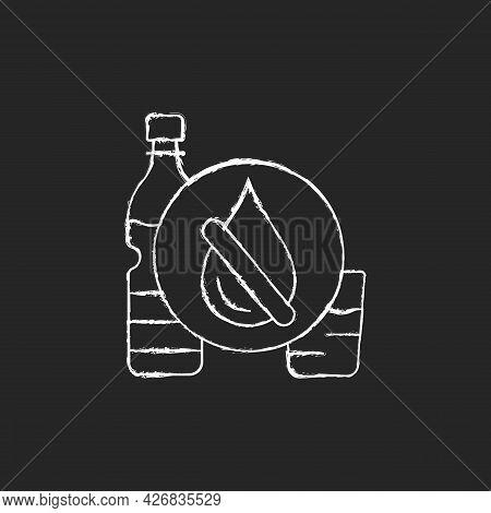 Drinking Water Shortage Chalk White Icon On Dark Background. Contaminated Resource. Unimproved Sanit