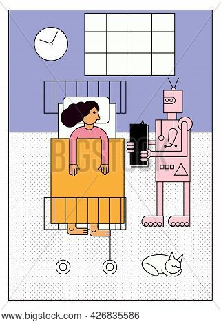 Robot Doctor Visiting Woman Patient Lying In Bed