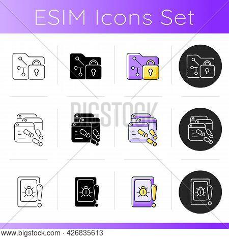 Internet Privacy Icons Set. Data Encryption. Digital Footprints. Web Beacon. Security Methods. Stati