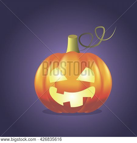 Illustration On The Theme Of Helowen, A Beautiful Pumpkin With Glowing Eyes And Mouth On A Purple Ba