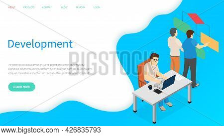 Programmer Working On Web Development On Computer. Busy Man At Workplace Is Looking At Laptop Screen