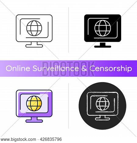 Cyberspace Icon. Virtual Computer World. Internet Environment. Interconnected Information Systems. I