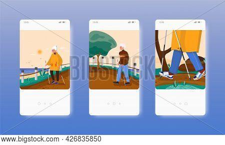 Happy Elderly People Walking With Nordic Poles. Mobile App Screens, Vector Website Banner Template.