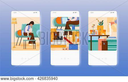 Woman Shopping Online. Shopaholic. Mobile App Screens, Vector Website Banner Template. Ui, Web Site