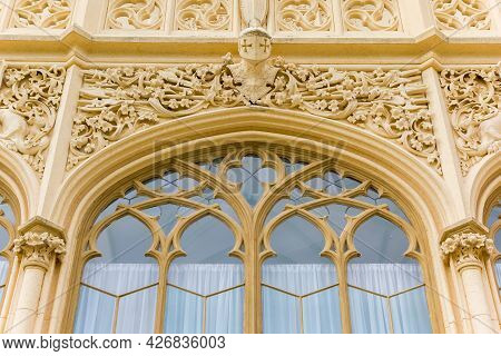 Closeup Of A Window Of The Historic Castle In Lednice, Czech Republic