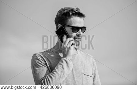 Agile Business. Sexy Man Sky Background. Modern Technology In Life. Always In Touch. Confident Man S