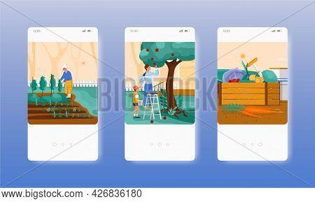 Farmer, Gardener Harvesting Fruits, Vegetables. Mobile App Screens, Vector Website Banner Template.