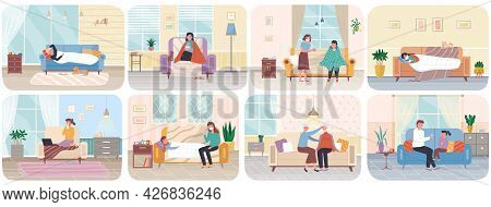 Set Of Illustrations On Theme Of Home Treatment. People With Flu On Self-isolation In Apartment. Car