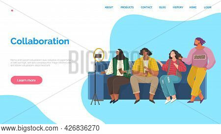 Collaboration Landing Page Template, Successful Team. Workers Meeting At Office, Joint Work. Mutuall