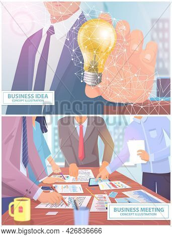 Business Idea And Business Meeting Scenes Set With Brainstorming Creative Team Idea Discussion Peopl