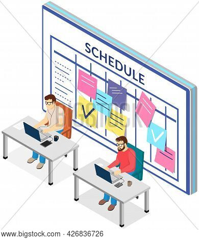 Project Planning, Deadline And Time Management Concept. Business Team Is Making Office Timetable And