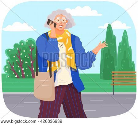 Old Woman With Smartphone Is Communicating. Female Character Using Mobile Device In City Park. Elder