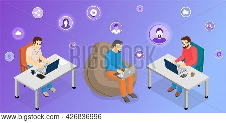 Social Media Activities Concept. Men At Computers Lead Video Blog Online. Male Bloggers Exploring So