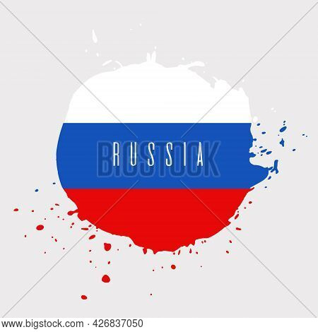 Russia Watercolor Vector National Country Flag Icon. Hand Drawn Illustration With Dry Brush Stains,