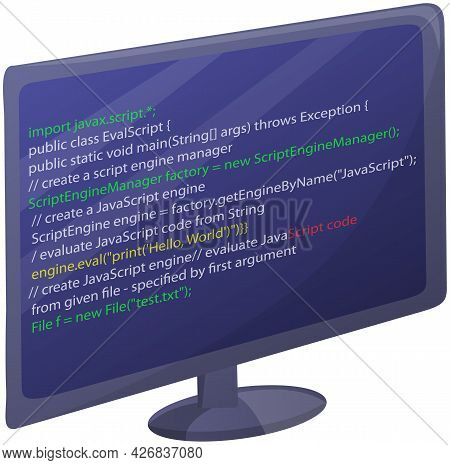 Workplace Of Office Worker With Code Screen. Desktop With Computer Monitor Isolated On White. Modern