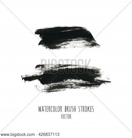 Vector Dark Black Grunge Watercolor, Ink Texture Set, Hand Painted Dry Brush Splashes, Strokes, Stai
