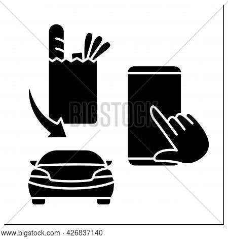 Application Glyph Icon. Curbside Pickup Mobile App. Order Tracking. Online Ordering Products From Gr