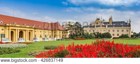 Lednice, Czech Republic - September 17, 2020: Panorama Of Red Flowers In Front Of The Castle In Ledn