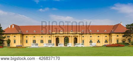 Lednice, Czech Republic - September 17, 2020: Panorama Of The Side Wing Of The Historic Castle In Le