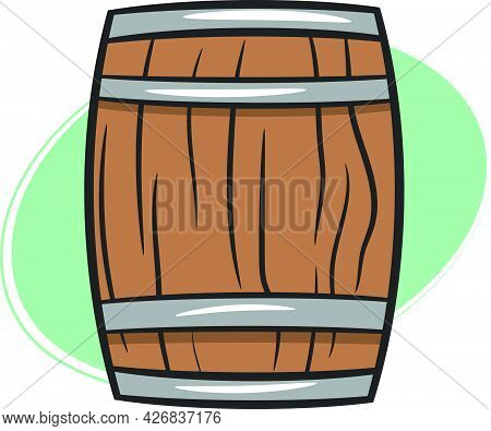 An Old Barrel Or Cask Made Of Wood Used To Store Whiskey. Wild West Texas Country Graphic Elements.