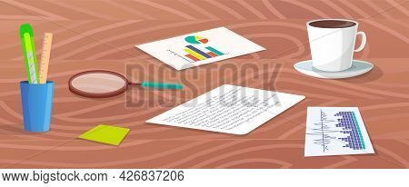 Workplace Or Desktop, Wooden Table, Documents With Information And Statistics, Stationery, Cup Of Co