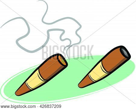 Set Of 2 Hand Rolled Cigars Lit And Unlit With Smoke And Fire. Wild Western Texas Country Graphic El
