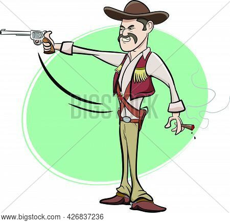 Badass Cowboys Holding Guns. Wild West Texas Country Graphic Elements. Cowboy Vector Elements Isolat