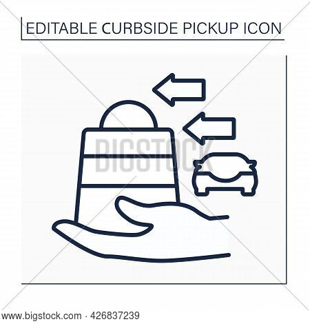 Curbside Pickup Line Icon. Buying Delivery. Assistant Take Parcel. Safety Way To Pick Up Order.conta