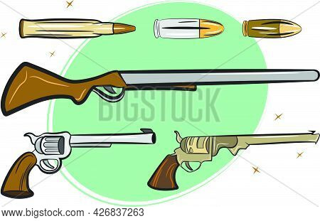 A Pack Of Guns Pistols Rifles And Bullets Used By Cowboys In The Wild Western Texas. Vintage Style C