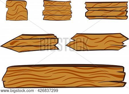 A Set Of Wooden Direction Signs. Background For Titles. Graphic Design Elements. Placeholder Graphic