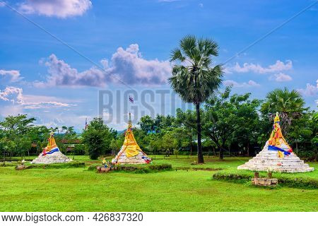 Three Pagodas Pass Or Dan Chedi Sam Ong Is A Border Between Thailand And The Union Of Myanmar At San