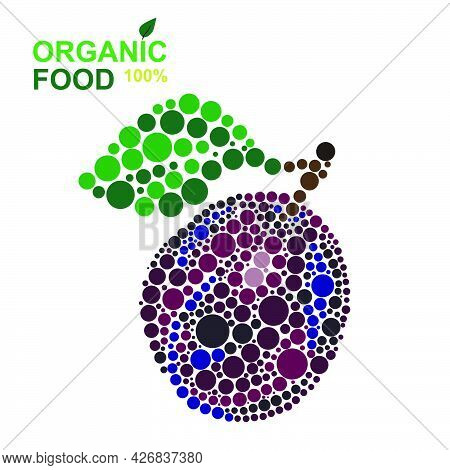 Organic Food Ripe Plum Made From Dots On A White Background. Natural Product