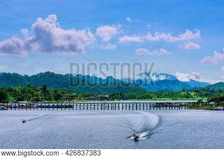 Mon Bridge Or Longest Wooden Bridge In Sangklaburi Kanchanaburi, Thailand. It Is A Bridge That Cross
