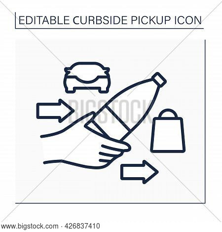 Curbside Pickup Line Icon. Purchases Delivery. Safe Way. Water, Grocery Products. Contact-free Deliv