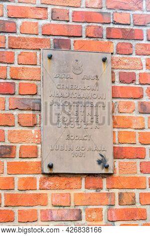 Lubin, Poland - June 1, 2021: Memorial Plaque To Wladyslaw Sikorski, Polish General And Prime Minist