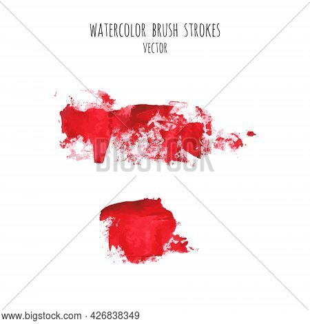 Vector Set Of Bloody Red, Pink Watercolor Hand Painted Texture Backgrounds Isolated On White. Abstra