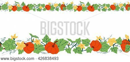 Horizontal Seamless Pattern With Pumpkins, Flowers And Leaves. Colorful Botanical Border With Pumpki