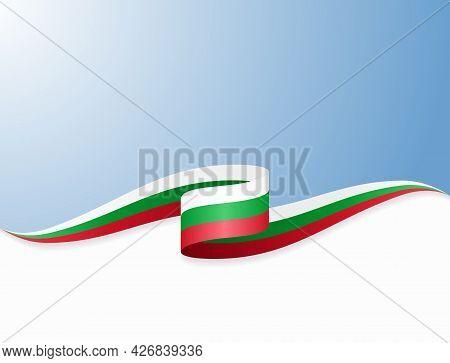 Bulgarian Flag Wavy Abstract Background. Vector Illustration.
