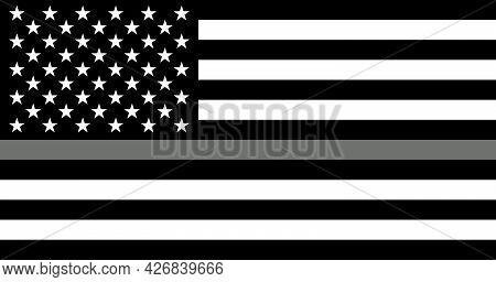 American Flag With A Thin Gray Or Silver. Sign To Honor And Respect American Correctional Officers,