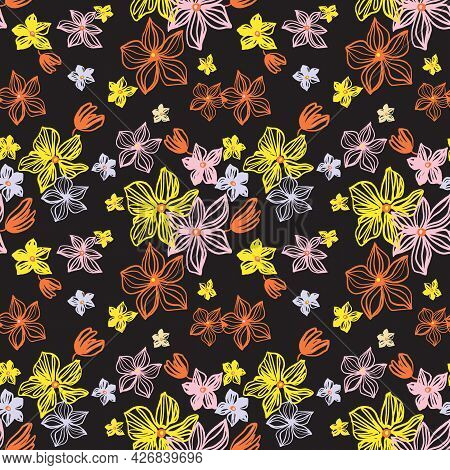 Abstract Flowers Vector Seamless Pattern With Drawing Yellow, Gold, Silver, Orange . Floral Watercol