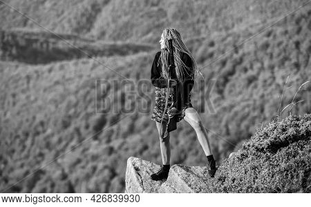 Feminist Girl. Hunting Season. Sexy Warrior. She Is Warrior. Woman Attractive Long Hair Pretty Face